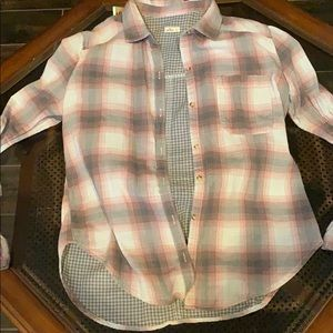Hollister Tops - Pink and grey flannel